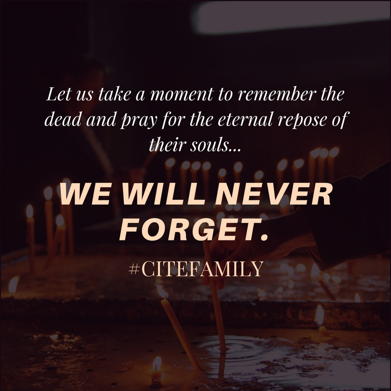 Let us take a moment to remember the dead and pray for the eternal repose of their souls...
